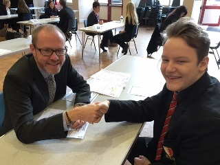 Marketing Manager Stewart Heeley with pupil from Hinckley Academy as part of Interview Techniques