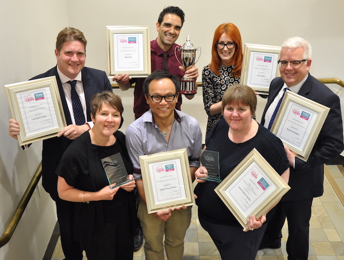 Carla Loughrey (back row, second from right) celebrates with the other winners of the 2016 Leicestershire Cares Awards