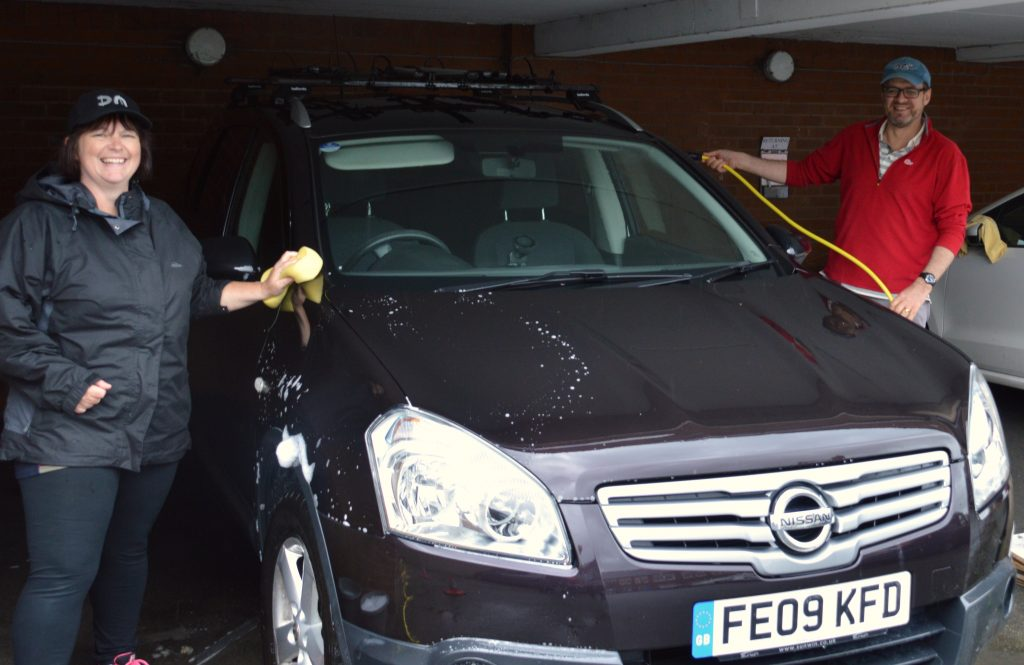 Branch Support Officer Tracey Ingram and Finance Director Andrew Payton get started on the first wash of the week