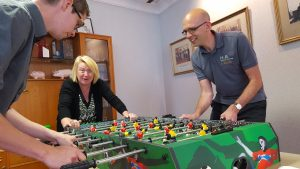 The table football tournament became fiercely contended