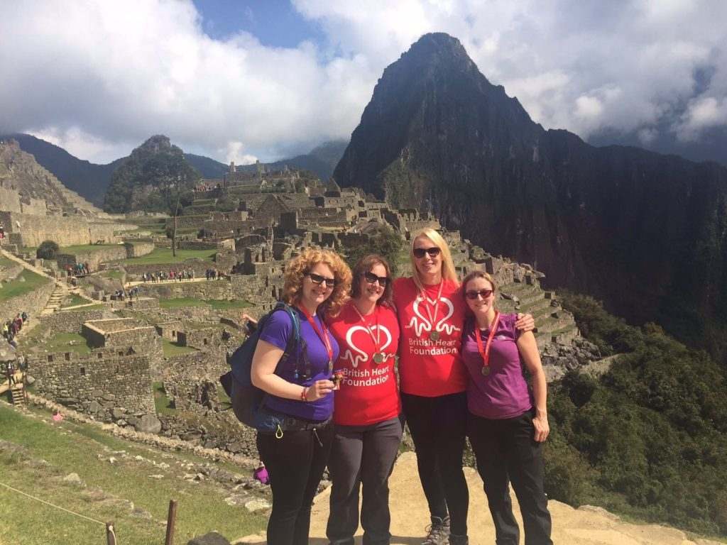 Hinckley & Rugby's Becky with friends climbing Machu Picchu