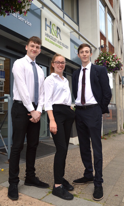 School leavers Oliver, Olivia and Lewis at HRBS Head office
