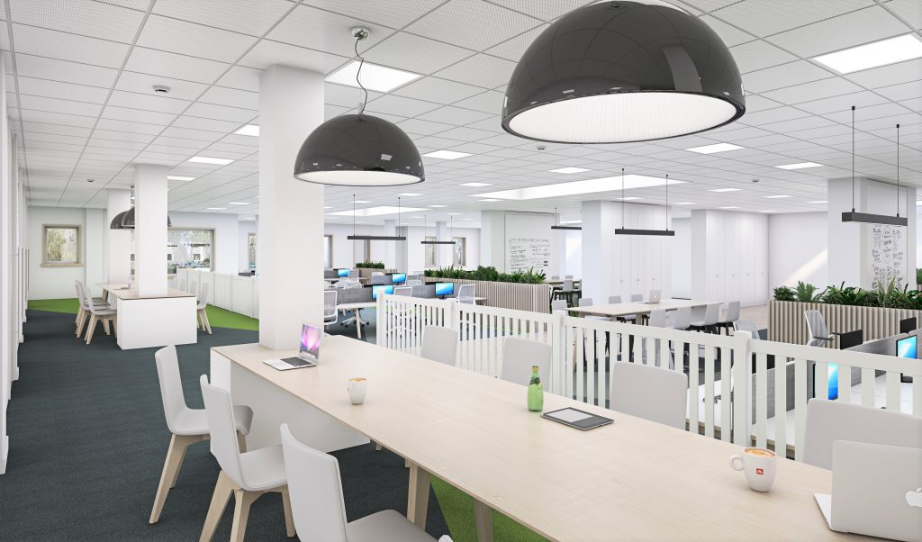 Picture shows raised level of open plan office space at Hinckley & Rugby Building Society's new head office
