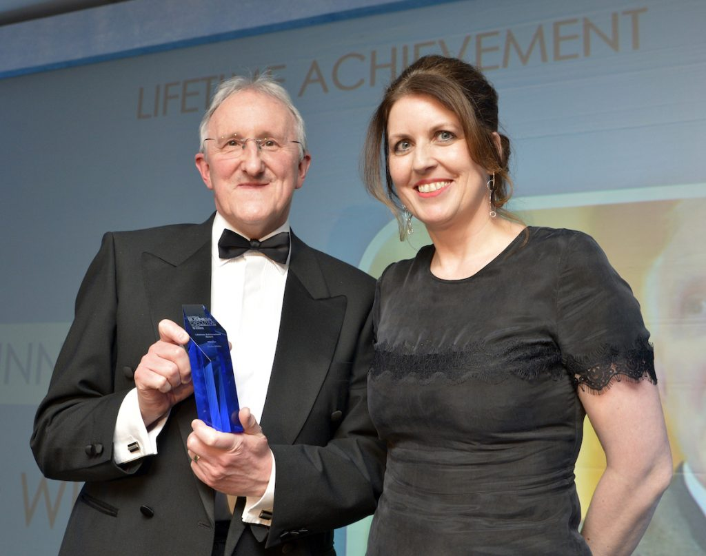 Hinckley & Rugby Building Society's newly retired chief executive Chris White has been presented with a Lifetime Achievement Award by the Leicester Mercury.