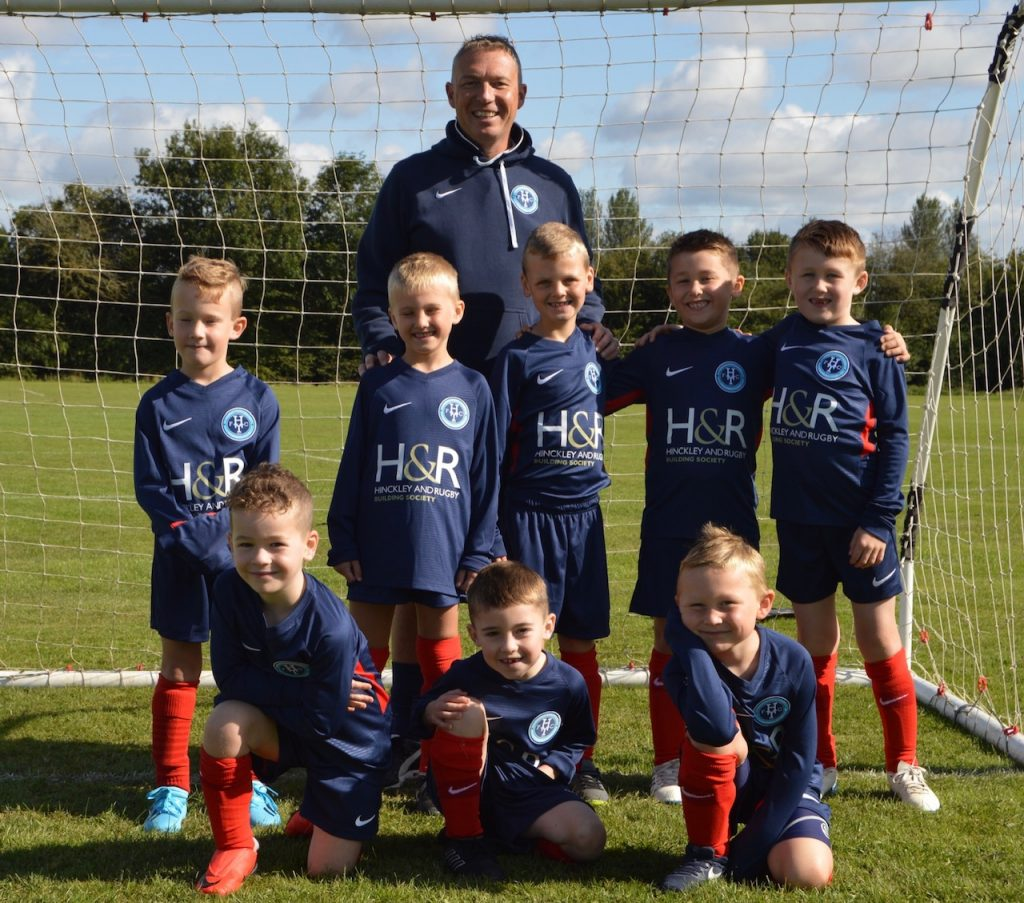 Hinckley Town Juniors Football Club's under 7s Whites team in their new kit sponsored by the Hinckley & Rugby Building society