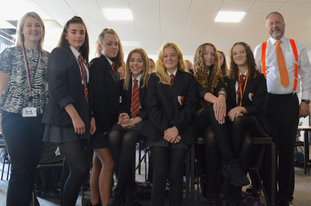 Hinckley Academy pupils with Ed Flack of WizeUp and Aimee Williams from Hinckley & Rugby (far left)