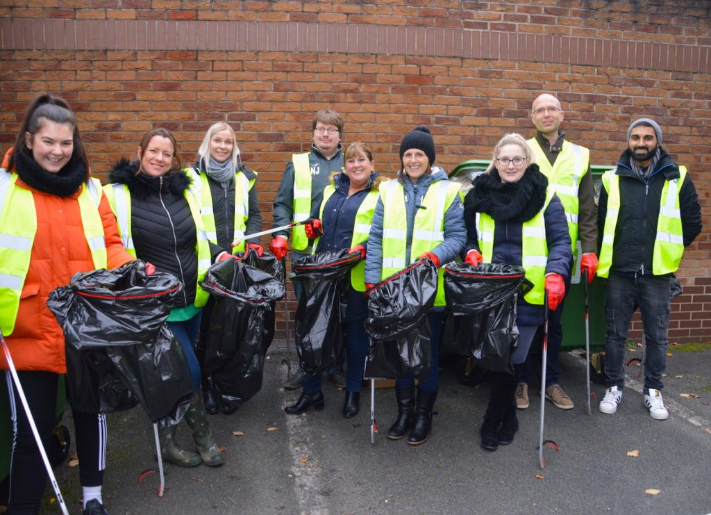 Hinckley & Rugby litter picking volunteers mark the Building Society's environmental strategy launch