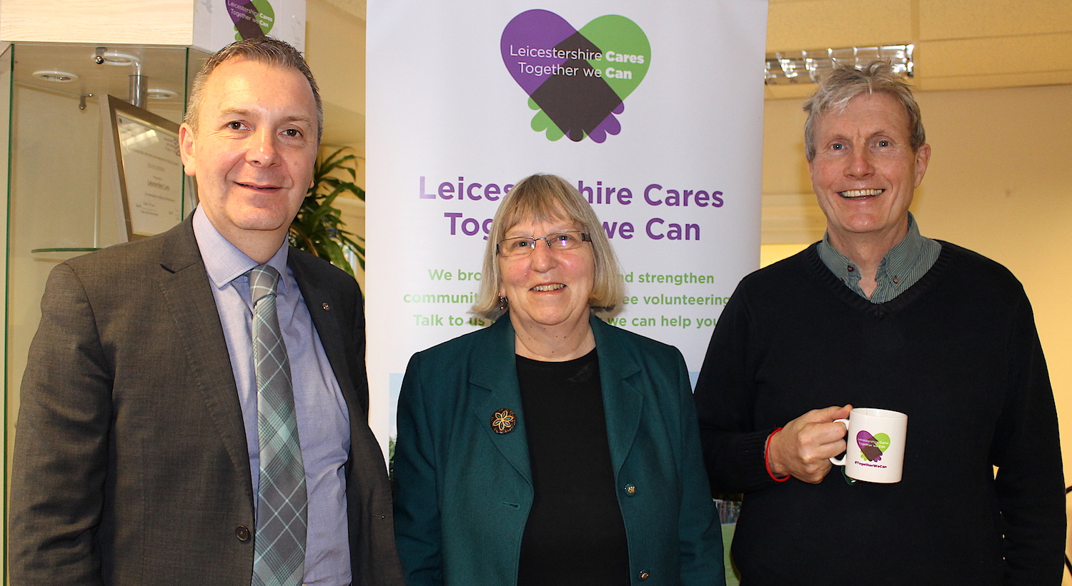 Hinckley & Rugby chief executive Colin Fyfe with Jenny Hand from Reaching People & Kieran Breen from Leicestershire Cares